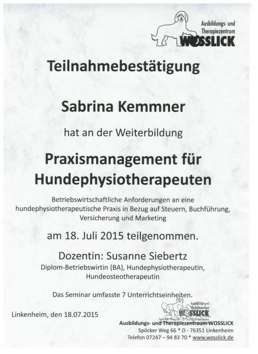 Teilnahmebestätigung Praxismanagement Sabrina Kemmner