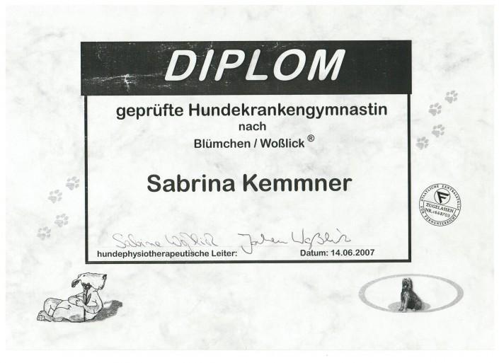 Zertifikat Diplom Physiotherapeutin Hundekrankengymnastin