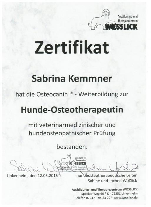 Zertifikat Hunde-Osteotherapeutin