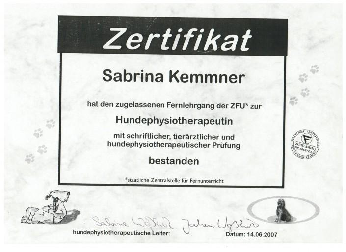 Zertifikat Hundephysiotherapeutin