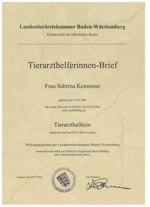 Zertifikat Tierarzthelferinnenbrief